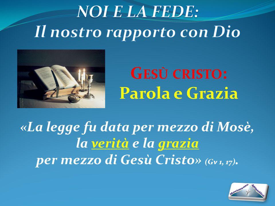 G ESÙ CRISTO : Parola e Grazia «La legge fu data per mezzo di Mosè, la verità e la grazia per mezzo di Gesù Cristo» (Gv 1, 17).