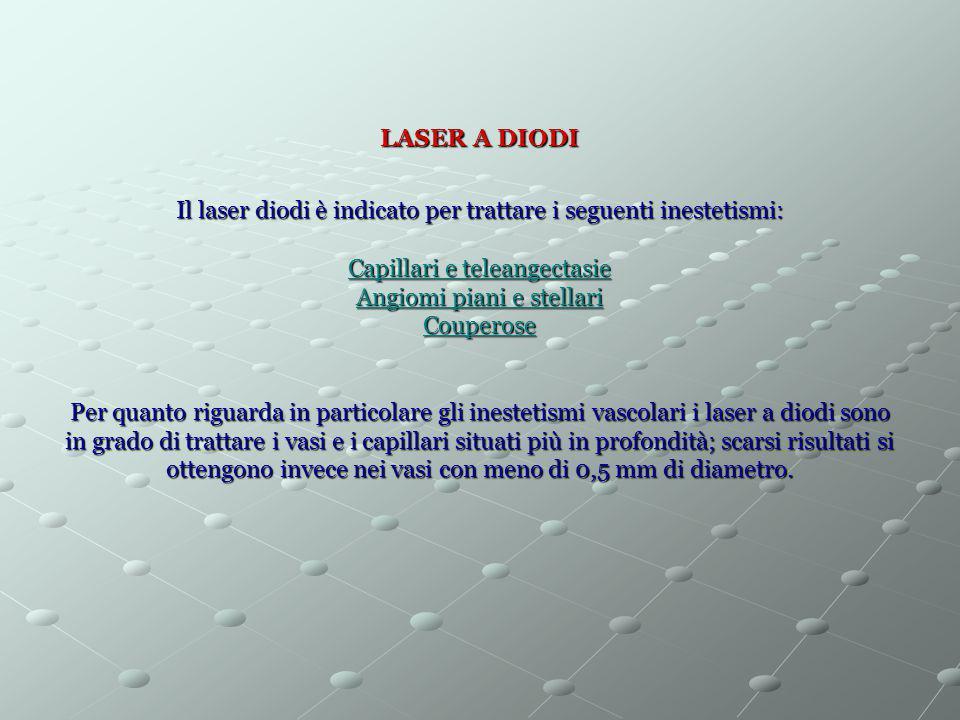 LASER A DIODI Il laser diodi è indicato per trattare i seguenti inestetismi: Capillari e teleangectasie Angiomi piani e stellari Couperose Per quanto