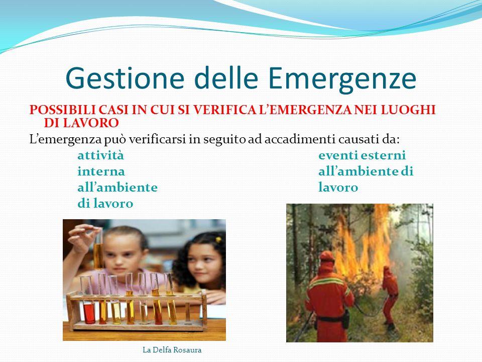 Gestione delle Emergenze CHE COS'E' L'EMERGENZA Si può definire emergenza tutto ciò che appare come condizione insolita e pericolosa che può presentar