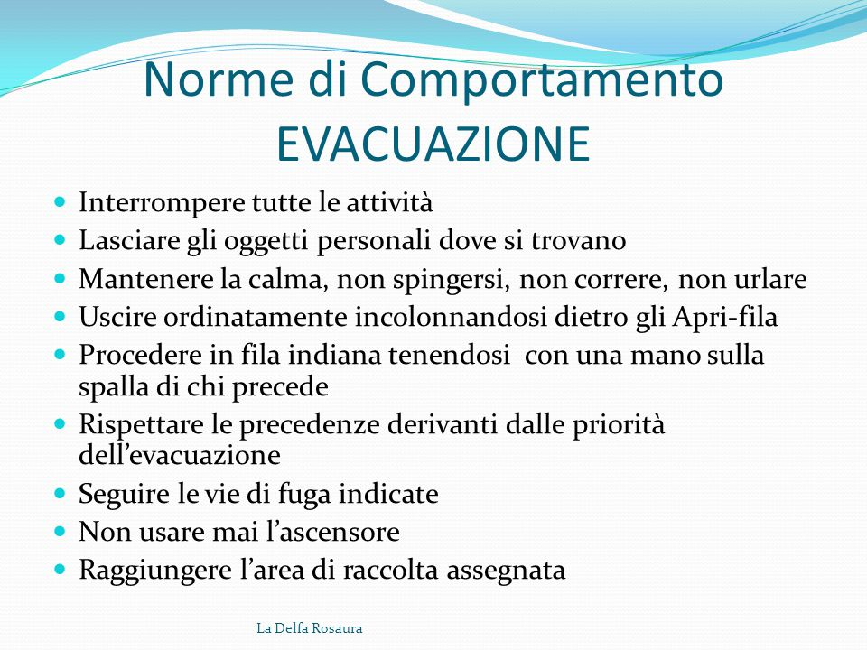 Studenti apri e chiudi fila (azioni) All'ordine di evacuazione dell'edificio: 1. Gli apri-fila incaricati devono seguire il responsabile nella via di