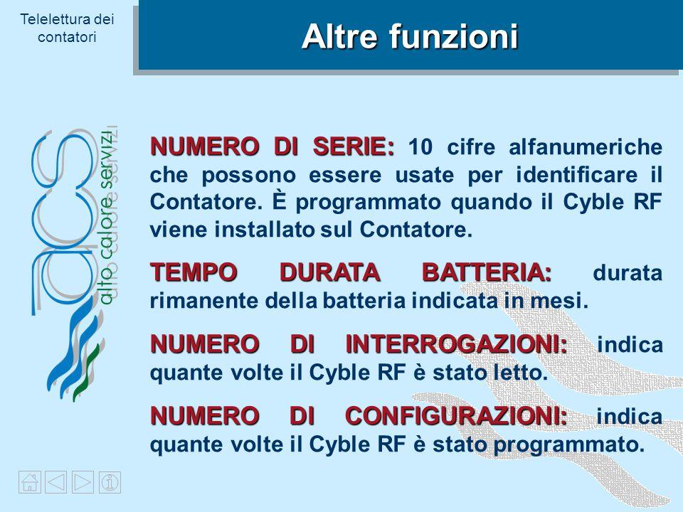 Telelettura dei contatori Informazioni sul Flusso Inverso INDICE DI FLUSSO INVERSO Registra il Volume Cumulato di flusso inverso.