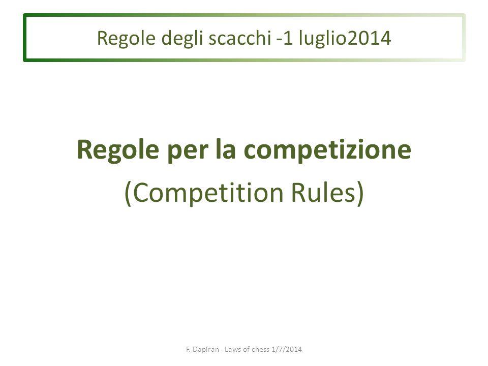 Regole per la competizione (Competition Rules) F.