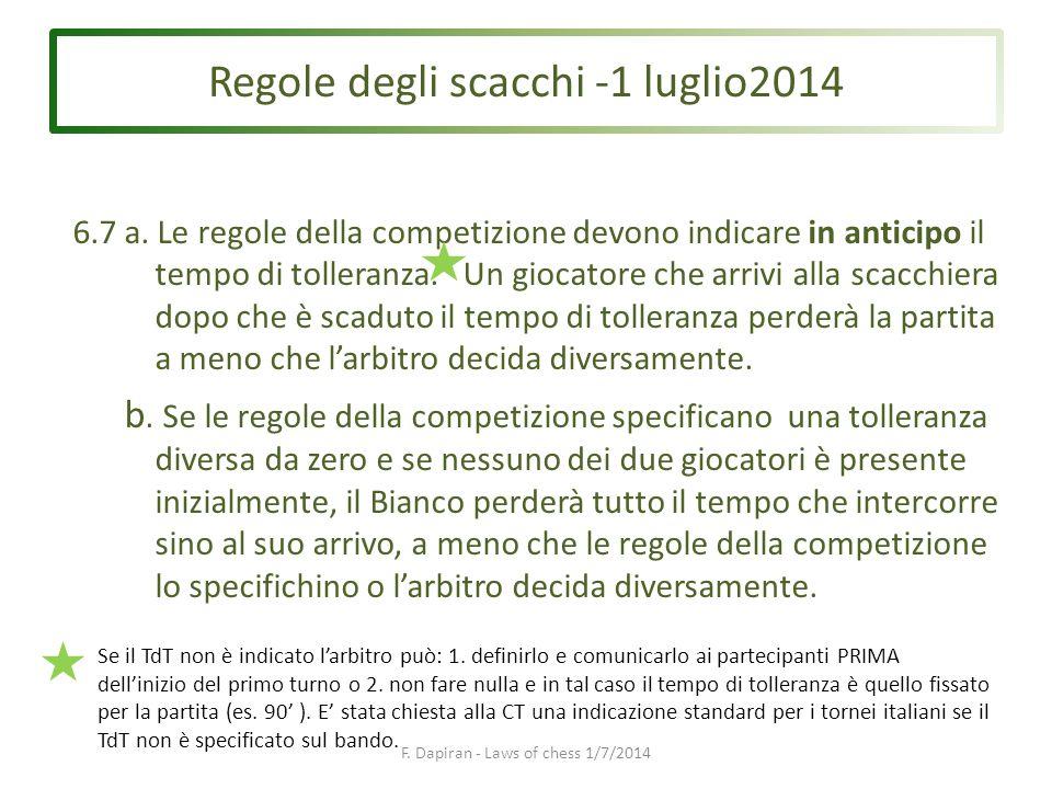 Regole degli scacchi -1 luglio2014 F. Dapiran - Laws of chess 1/7/2014 6.7a.