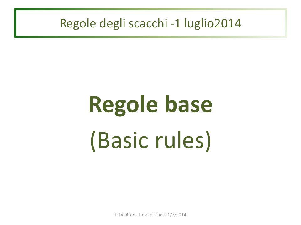 Regole base (Basic rules) F. Dapiran - Laws of chess 1/7/2014 Regole degli scacchi -1 luglio2014