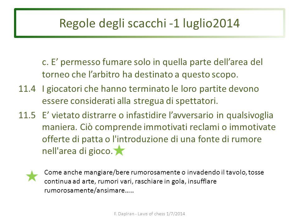 Regole degli scacchi -1 luglio2014 F. Dapiran - Laws of chess 1/7/2014 c.