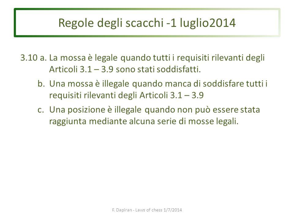 Regole degli scacchi -1 luglio2014 F. Dapiran - Laws of chess 1/7/2014 3.10 a.