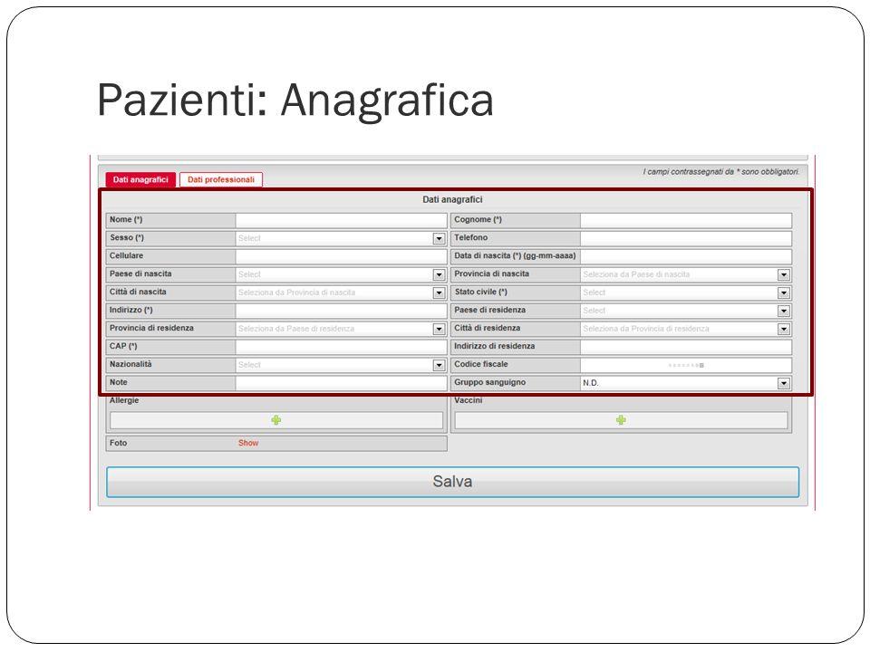 Pazienti: Anagrafica