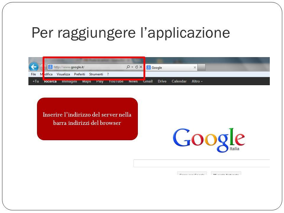 Per raggiungere l'applicazione Inserire l'indirizzo del server nella barra indirizzi del browser