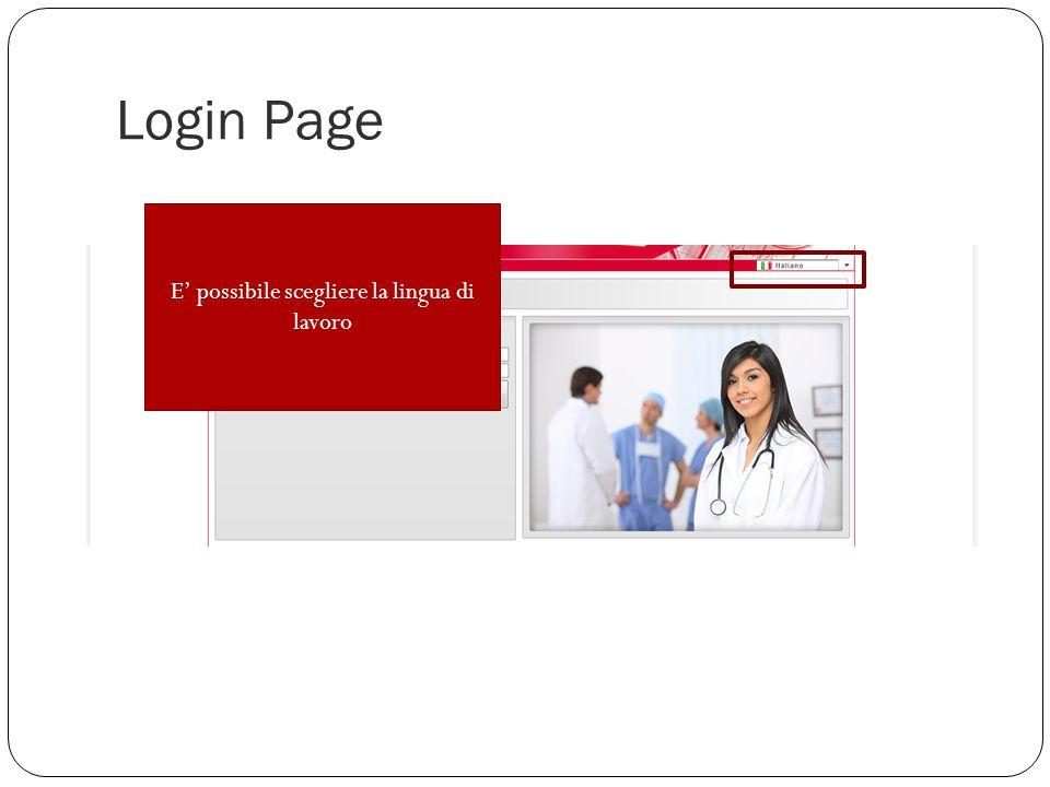 Login Page E' possibile scegliere la lingua di lavoro