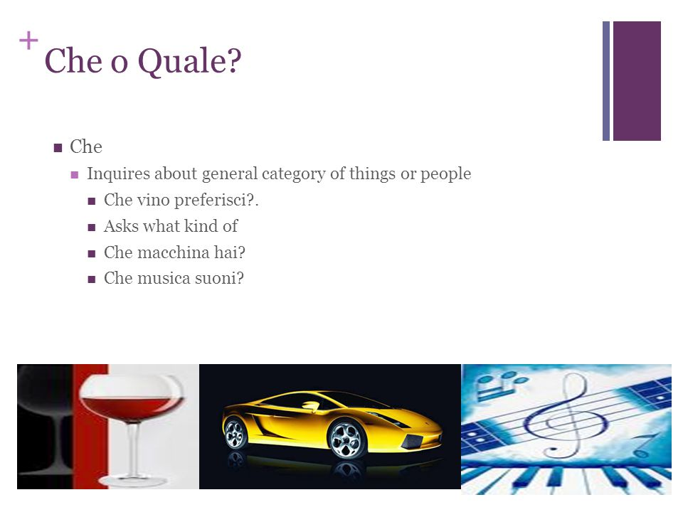 + Che o Quale. Che Inquires about general category of things or people Che vino preferisci .