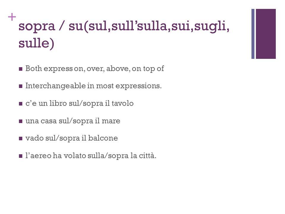 + sopra / su(sul,sull'sulla,sui,sugli, sulle) Both express on, over, above, on top of Interchangeable in most expressions. c'e un libro sul/sopra il t