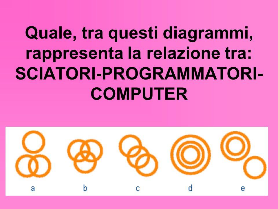 Quale, tra questi diagrammi, rappresenta la relazione tra: SCIATORI-PROGRAMMATORI- COMPUTER
