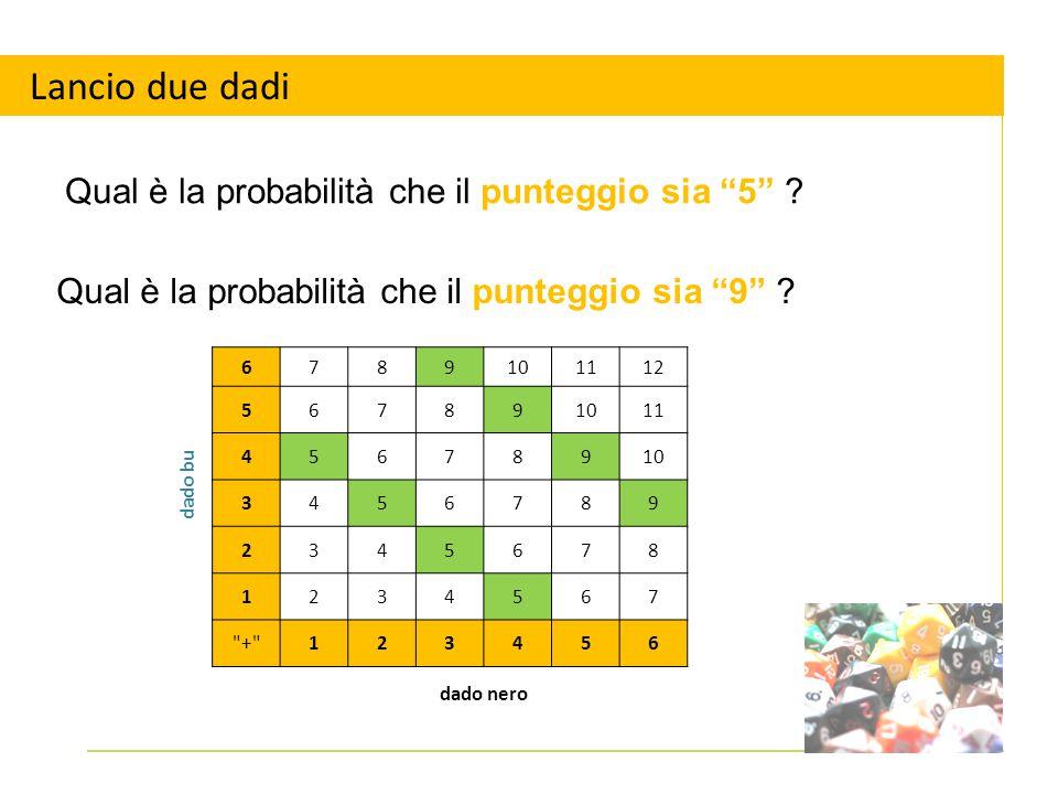 """Lancio due dadi Qual è la probabilità che il punteggio sia """"5"""" ? dado bu 6789101112 567891011 45678910 3456789 2345678 1234567"""