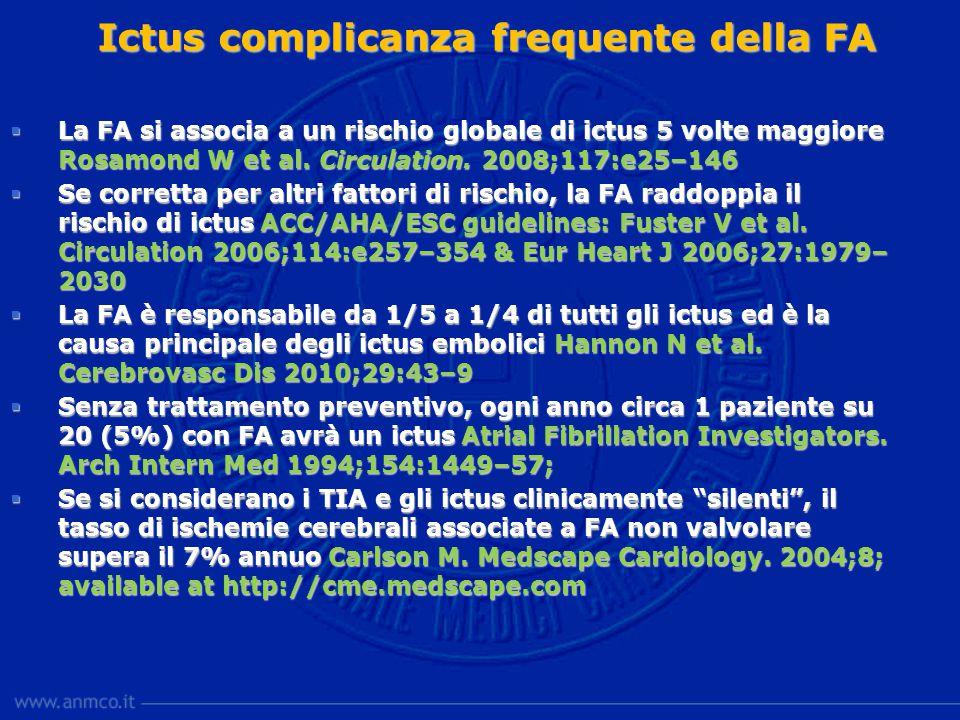 Ictus complicanza frequente della FA  La FA si associa a un rischio globale di ictus 5 volte maggiore Rosamond W et al.