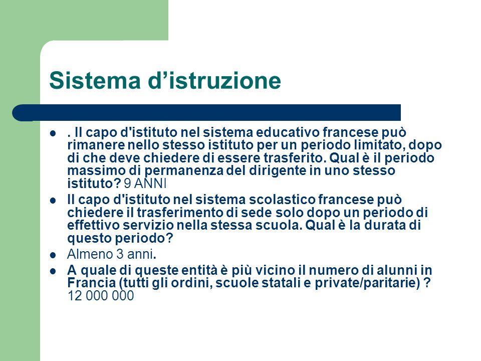 Sistema d'istruzione. Il capo d'istituto nel sistema educativo francese può rimanere nello stesso istituto per un periodo limitato, dopo di che deve c