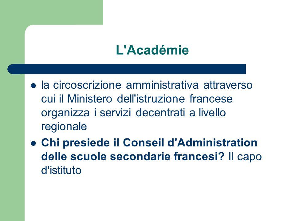 L'Académie la circoscrizione amministrativa attraverso cui il Ministero dell'istruzione francese organizza i servizi decentrati a livello regionale Ch