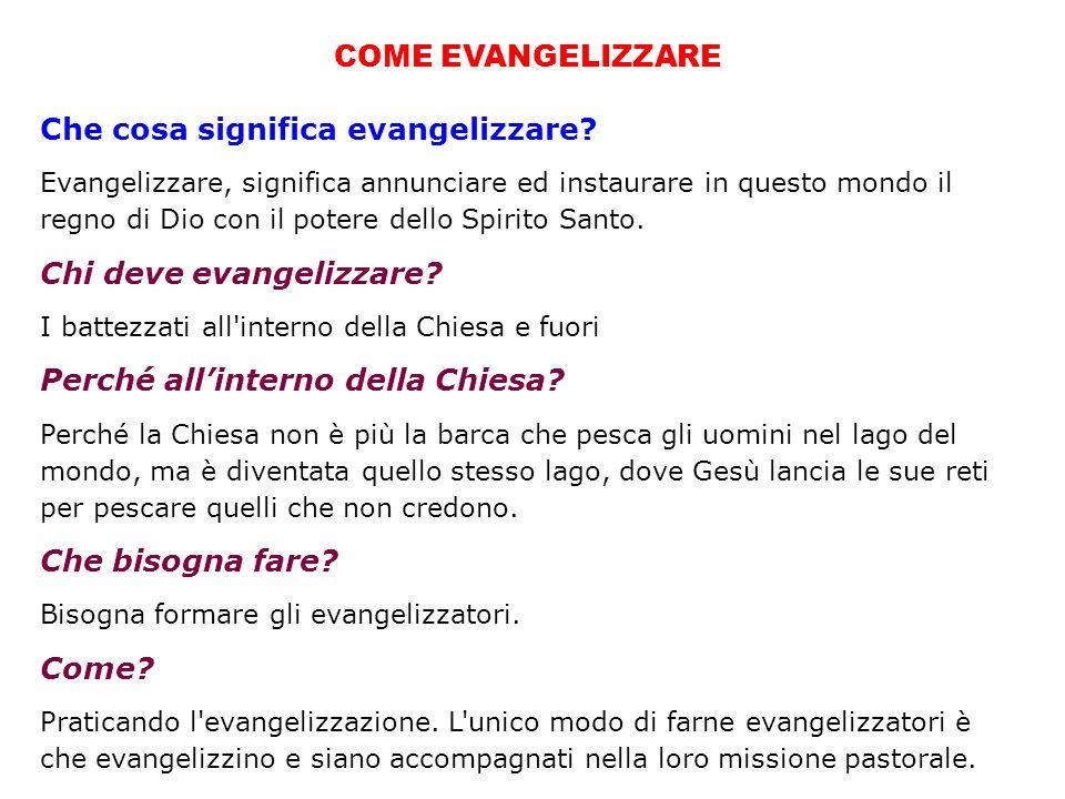 COME EVANGELIZZARE Che cosa significa evangelizzare.