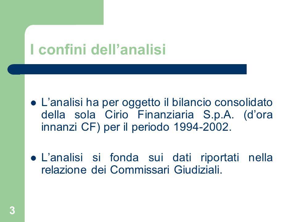 3 I confini dell'analisi L'analisi ha per oggetto il bilancio consolidato della sola Cirio Finanziaria S.p.A. (d'ora innanzi CF) per il periodo 1994-2