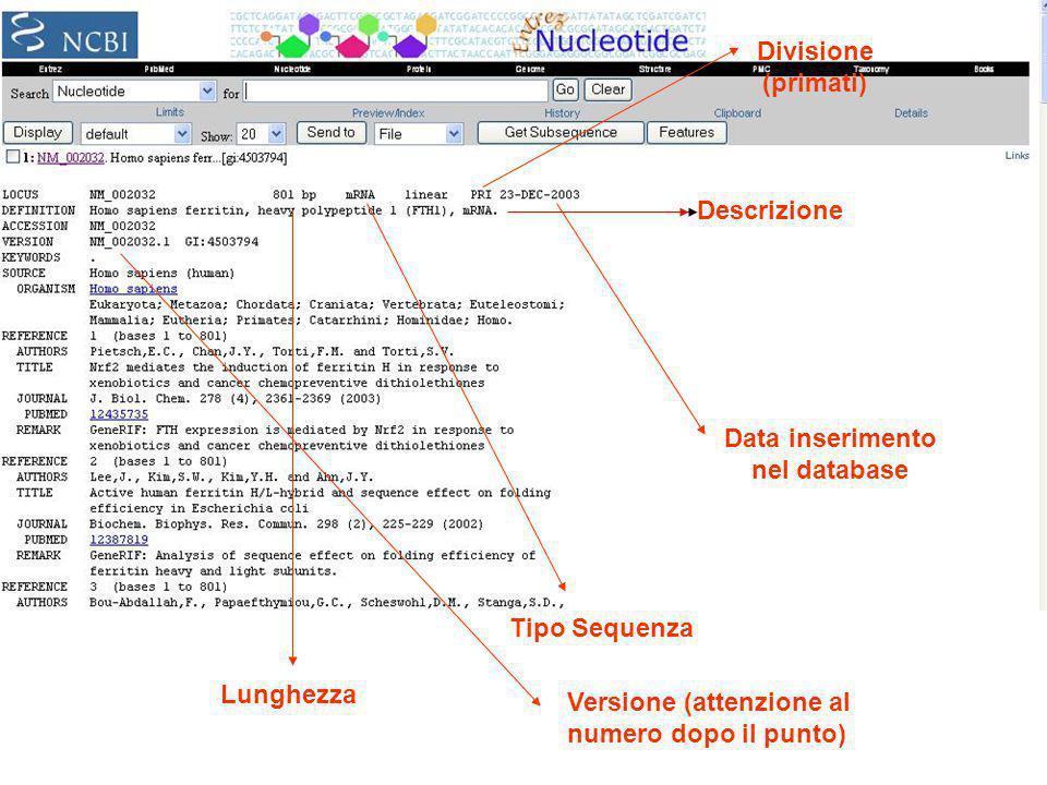 Descrizione Lunghezza Tipo Sequenza Divisione (primati) Data inserimento nel database Versione (attenzione al numero dopo il punto)