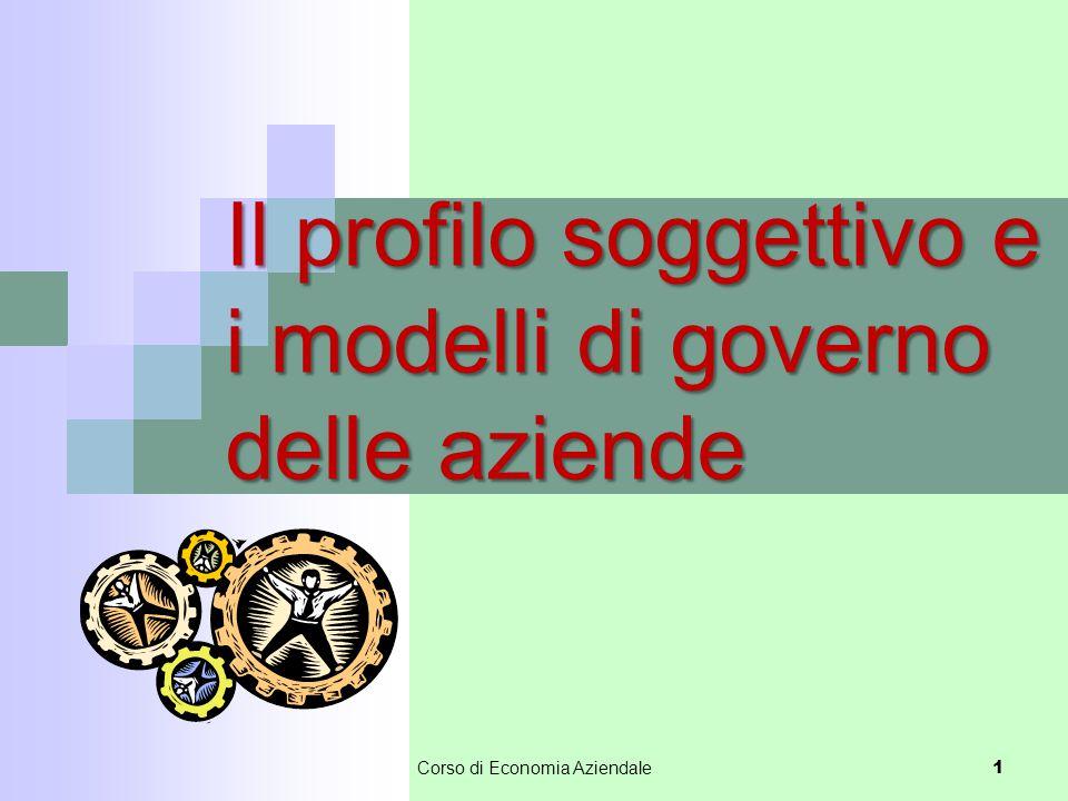 Il soggetto economico Identifica colui che determina le scelte di fondo dell'impresa, ovvero chi ne ha il controllo.