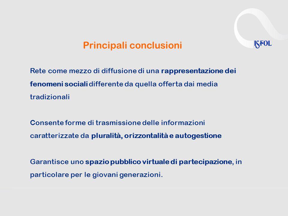 Principali conclusioni Rete come mezzo di diffusione di una rappresentazione dei fenomeni sociali differente da quella offerta dai media tradizionali