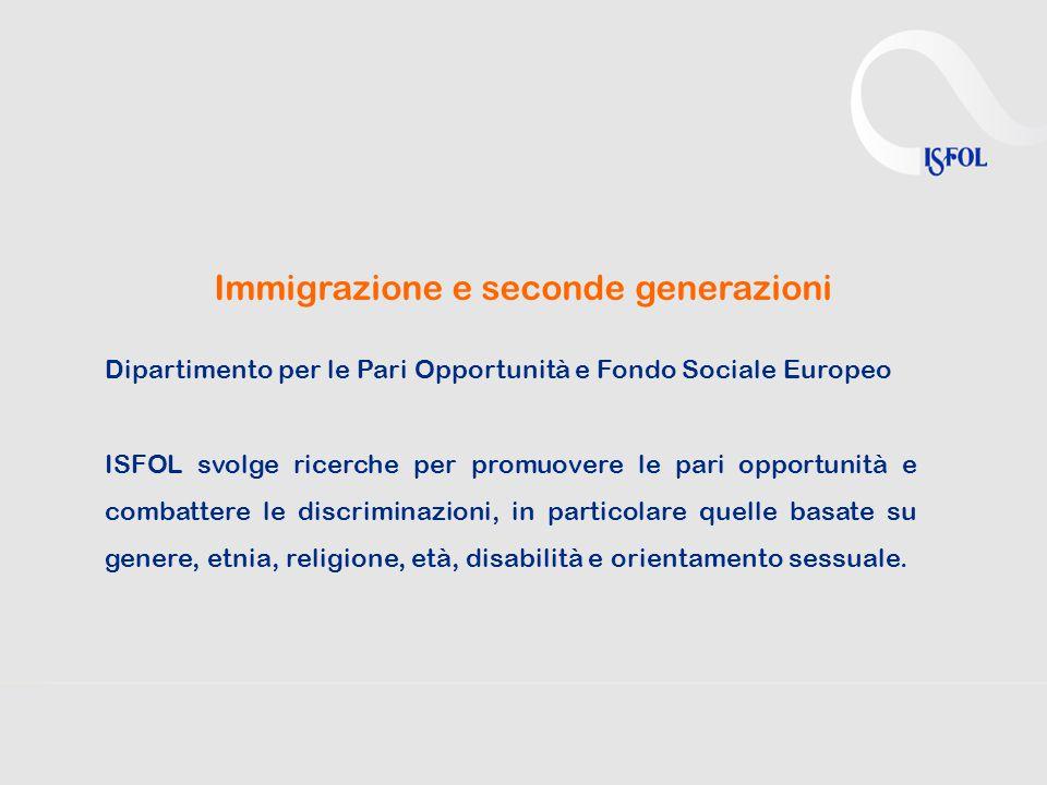 Immigrazione e seconde generazioni Dipartimento per le Pari Opportunità e Fondo Sociale Europeo ISFOL svolge ricerche per promuovere le pari opportunità e combattere le discriminazioni, in particolare quelle basate su genere, etnia, religione, età, disabilità e orientamento sessuale.