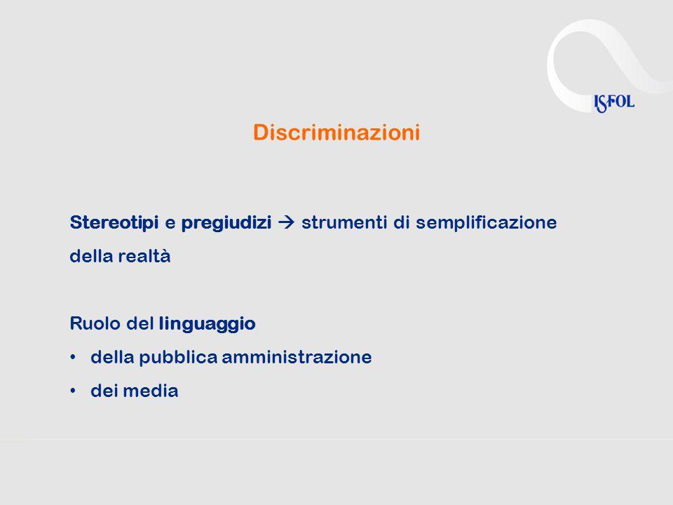 Discriminazioni Stereotipi e pregiudizi  strumenti di semplificazione della realtà Ruolo del linguaggio della pubblica amministrazione dei media