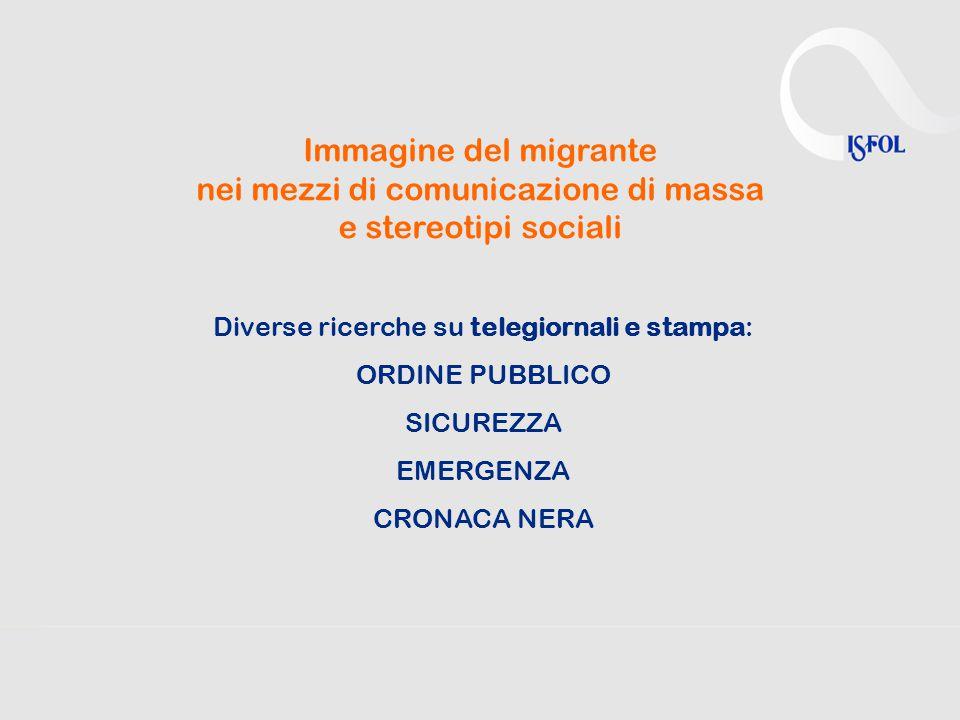 Immagine del migrante nei mezzi di comunicazione di massa e stereotipi sociali Diverse ricerche su telegiornali e stampa: ORDINE PUBBLICO SICUREZZA EMERGENZA CRONACA NERA
