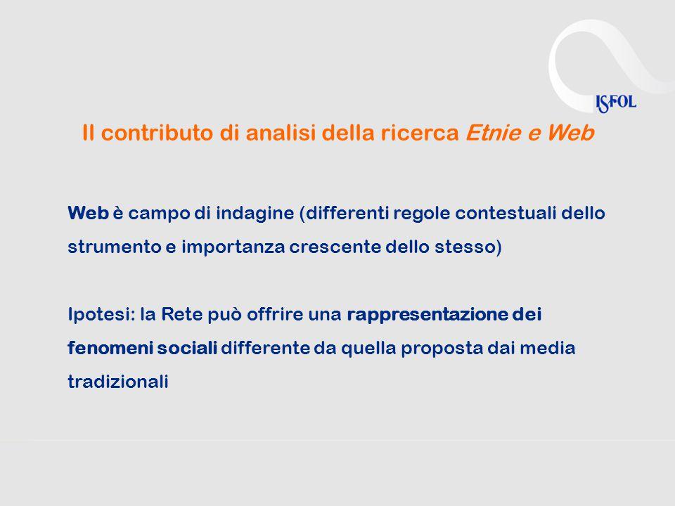 Il contributo di analisi della ricerca Etnie e Web Web è campo di indagine (differenti regole contestuali dello strumento e importanza crescente dello