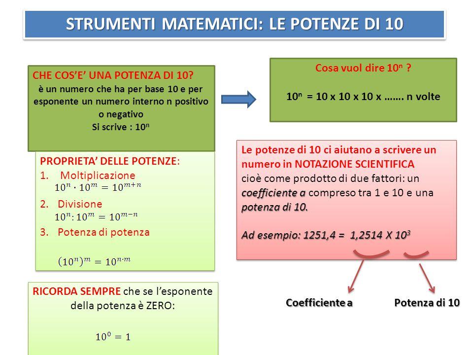 RICORDA SEMPRE che se l'esponente della potenza è ZERO: STRUMENTI MATEMATICI: LE POTENZE DI 10 CHE COS'E' UNA POTENZA DI 10.