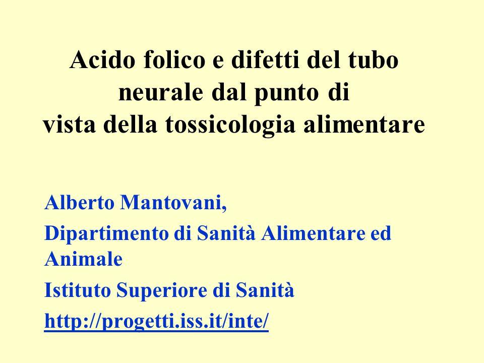 Acido folico e difetti del tubo neurale dal punto di vista della tossicologia alimentare Alberto Mantovani, Dipartimento di Sanità Alimentare ed Anima