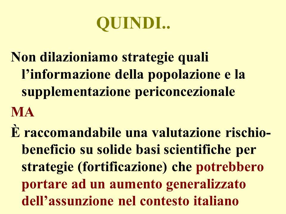 QUINDI.. Non dilazioniamo strategie quali l'informazione della popolazione e la supplementazione periconcezionale MA È raccomandabile una valutazione