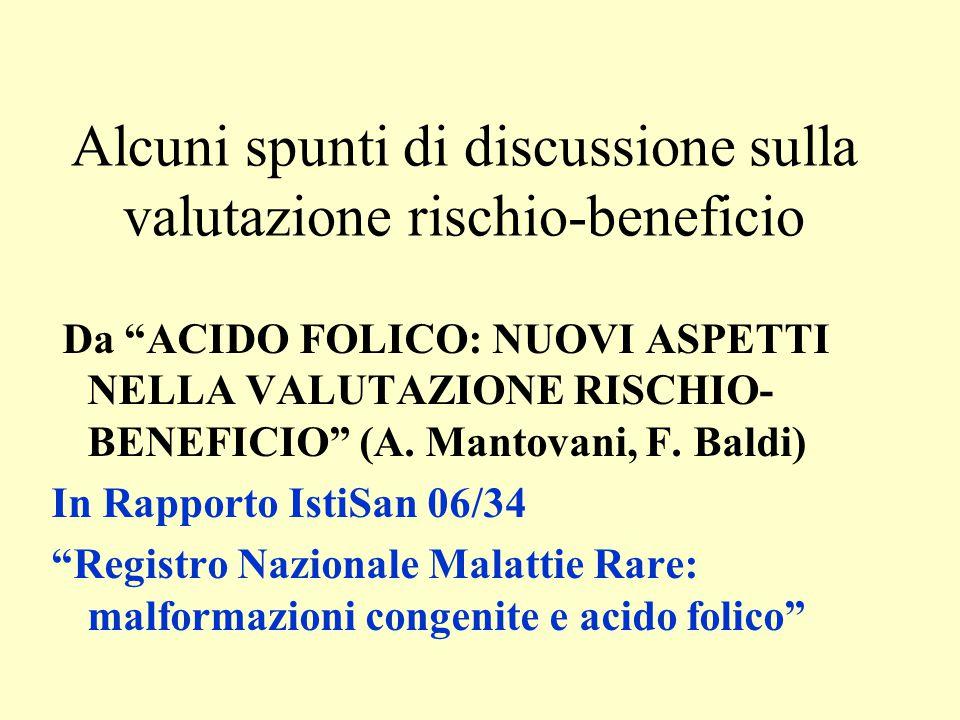 """Alcuni spunti di discussione sulla valutazione rischio-beneficio Da """"ACIDO FOLICO: NUOVI ASPETTI NELLA VALUTAZIONE RISCHIO- BENEFICIO"""" (A. Mantovani,"""