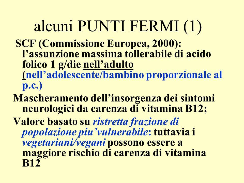 alcuni PUNTI FERMI (1) SCF (Commissione Europea, 2000): l'assunzione massima tollerabile di acido folico 1 g/die nell'adulto (nell'adolescente/bambino