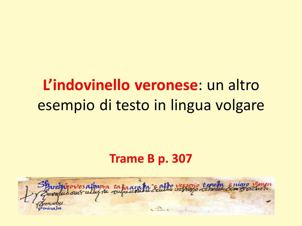L'indovinello veronese: un altro esempio di testo in lingua volgare Trame B p. 307