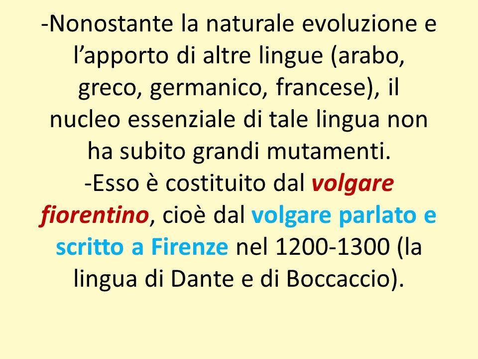 -Nonostante la naturale evoluzione e l'apporto di altre lingue (arabo, greco, germanico, francese), il nucleo essenziale di tale lingua non ha subito