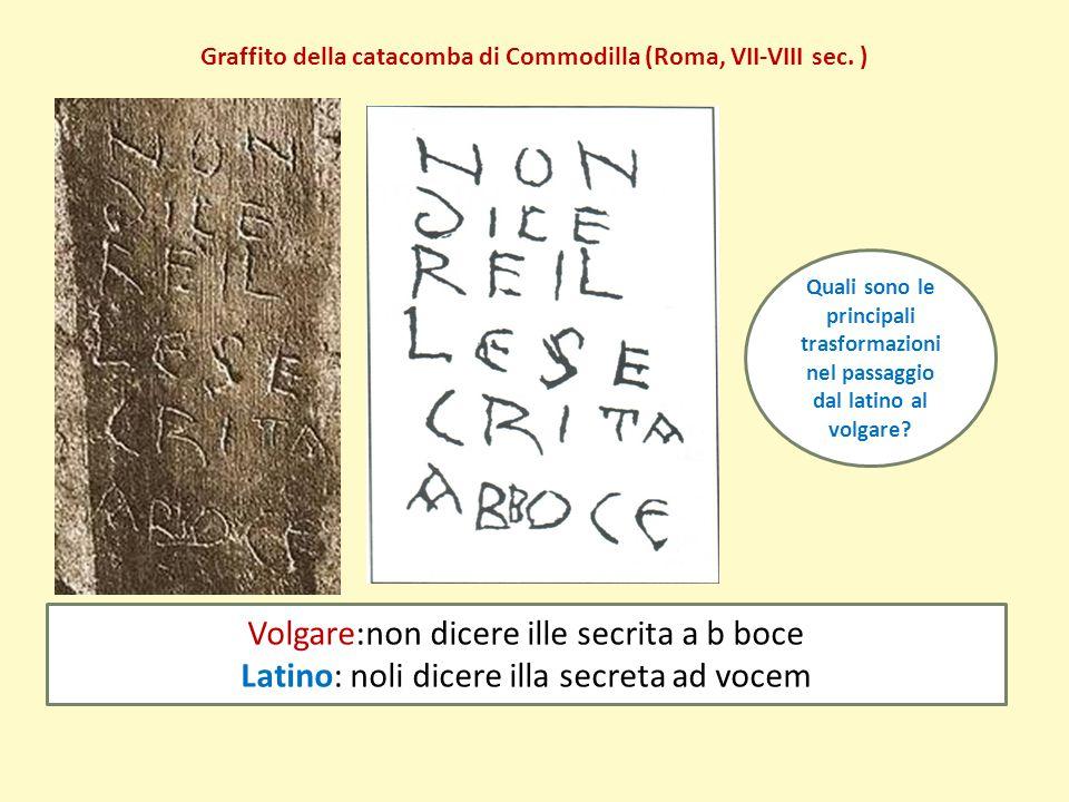 Graffito della catacomba di Commodilla (Roma, VII-VIII sec. ) Volgare:non dicere ille secrita a b boce Latino: noli dicere illa secreta ad vocem Quali