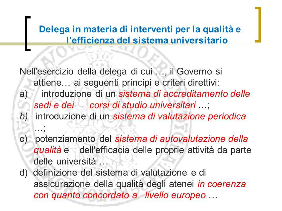 Delega in materia di interventi per la qualità e l'efficienza del sistema universitario Nell'esercizio della delega di cui …, il Governo si attiene… a