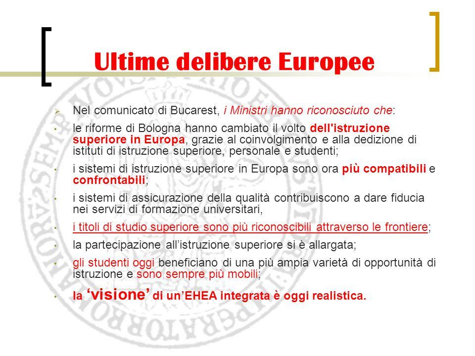 Ultime delibere Europee  Nel comunicato di Bucarest, i Ministri hanno riconosciuto che: le riforme di Bologna hanno cambiato il volto dell'istruzione