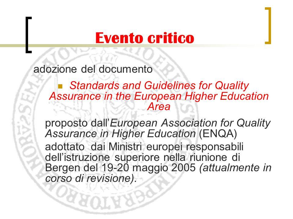 Evento critico adozione del documento Standards and Guidelines for Quality Assurance in the European Higher Education Area proposto dall'European Asso