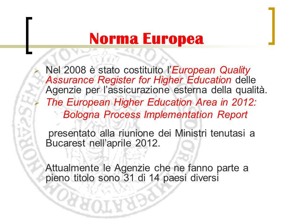 Norma Europea  Nel 2008 è stato costituito l'European Quality Assurance Register for Higher Education delle Agenzie per l'assicurazione esterna della
