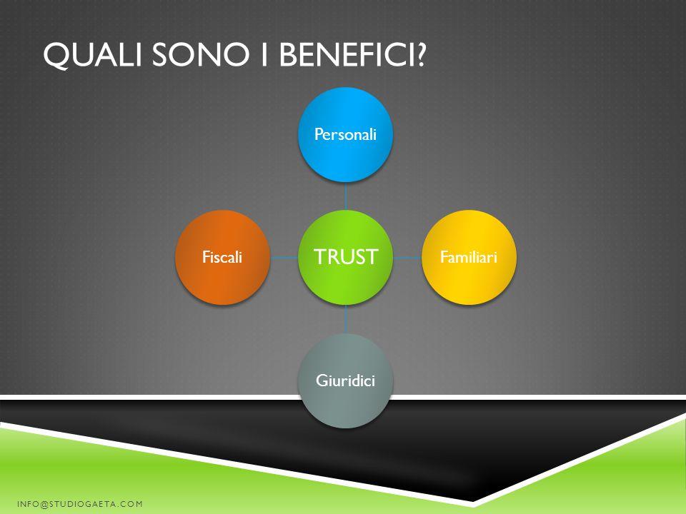QUALI SONO I BENEFICI? TRUST PersonaliFamiliariGiuridiciFiscali INFO@STUDIOGAETA.COM