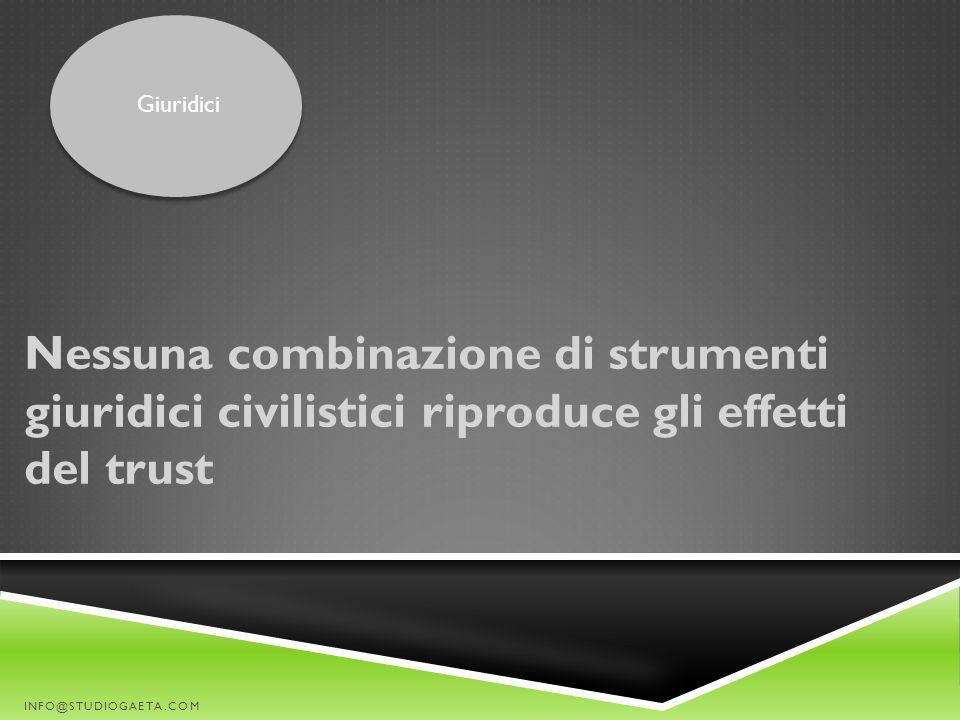 Nessuna combinazione di strumenti giuridici civilistici riproduce gli effetti del trust INFO@STUDIOGAETA.COM Giuridici