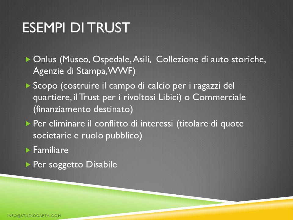 ESEMPI DI TRUST  Onlus (Museo, Ospedale, Asili, Collezione di auto storiche, Agenzie di Stampa, WWF)  Scopo (costruire il campo di calcio per i raga