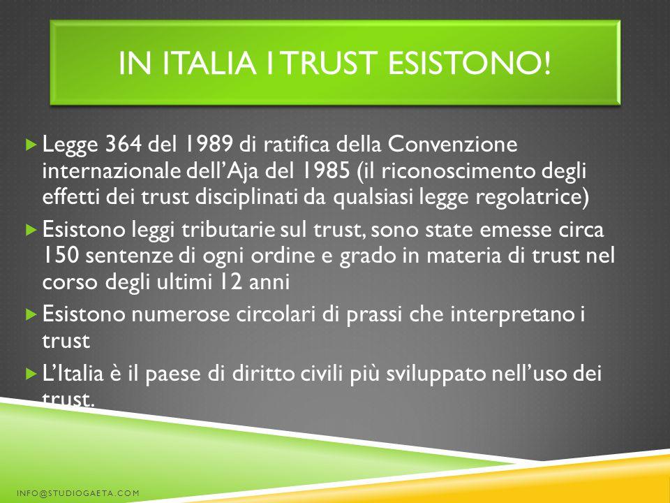 IN ITALIA I TRUST ESISTONO!  Legge 364 del 1989 di ratifica della Convenzione internazionale dell'Aja del 1985 (il riconoscimento degli effetti dei t