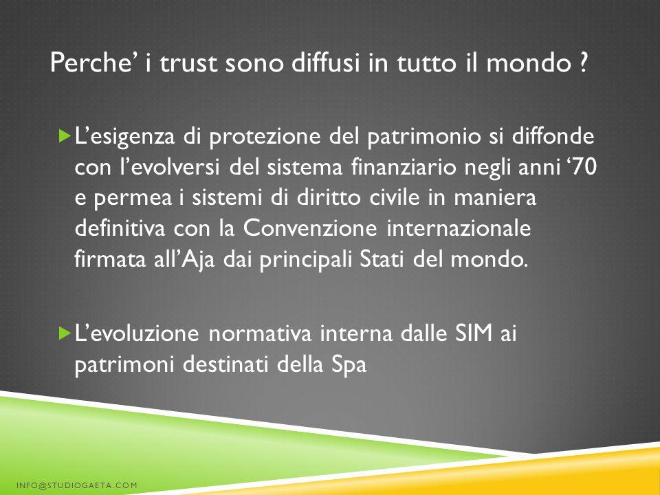 Perche' i trust sono diffusi in tutto il mondo ?  L'esigenza di protezione del patrimonio si diffonde con l'evolversi del sistema finanziario negli a