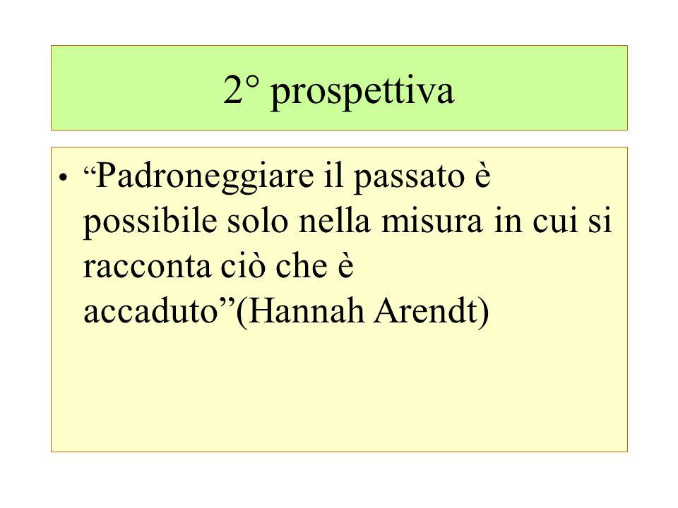 """2° prospettiva """" Padroneggiare il passato è possibile solo nella misura in cui si racconta ciò che è accaduto""""(Hannah Arendt)"""