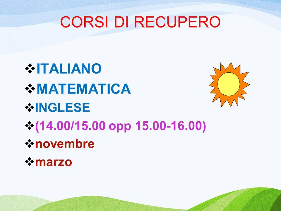 CORSI DI RECUPERO  ITALIANO  MATEMATICA  INGLESE  (14.00/15.00 opp 15.00-16.00)  novembre  marzo