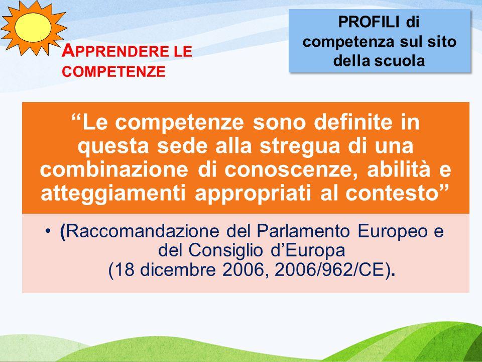 A PPRENDERE LE COMPETENZE Le competenze sono definite in questa sede alla stregua di una combinazione di conoscenze, abilità e atteggiamenti appropriati al contesto (Raccomandazione del Parlamento Europeo e del Consiglio d'Europa (18 dicembre 2006, 2006/962/CE).