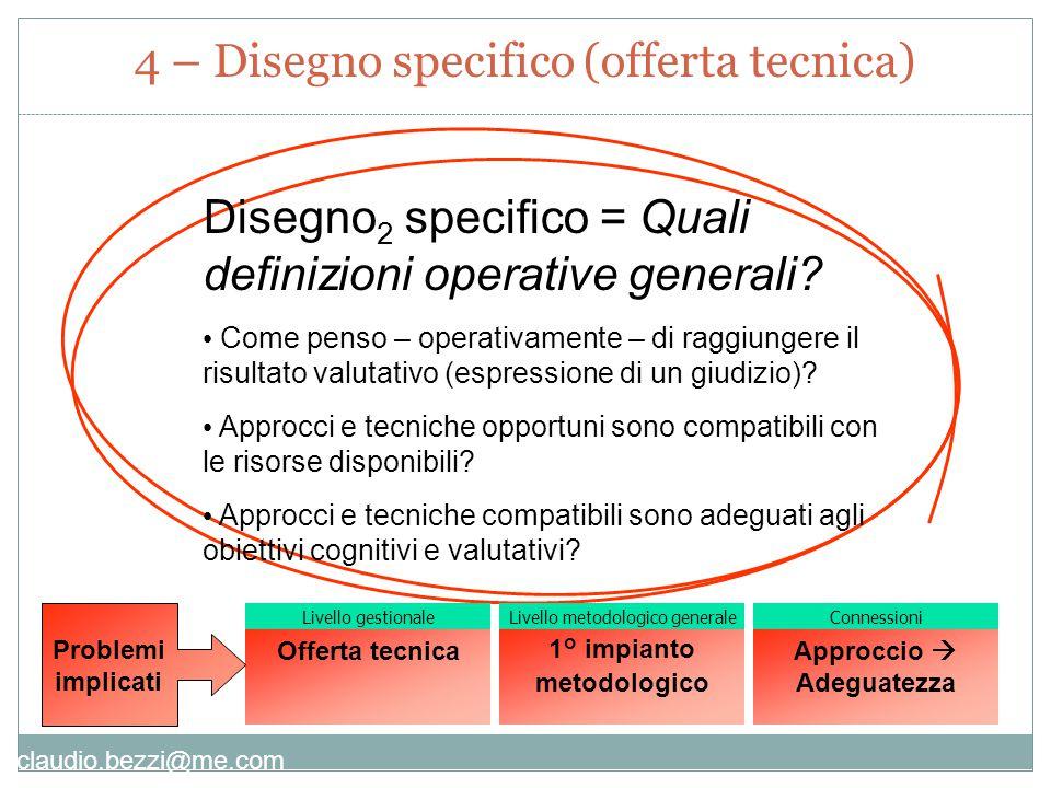 claudio.bezzi@me.com Disegno 2 specifico = Quali definizioni operative generali.